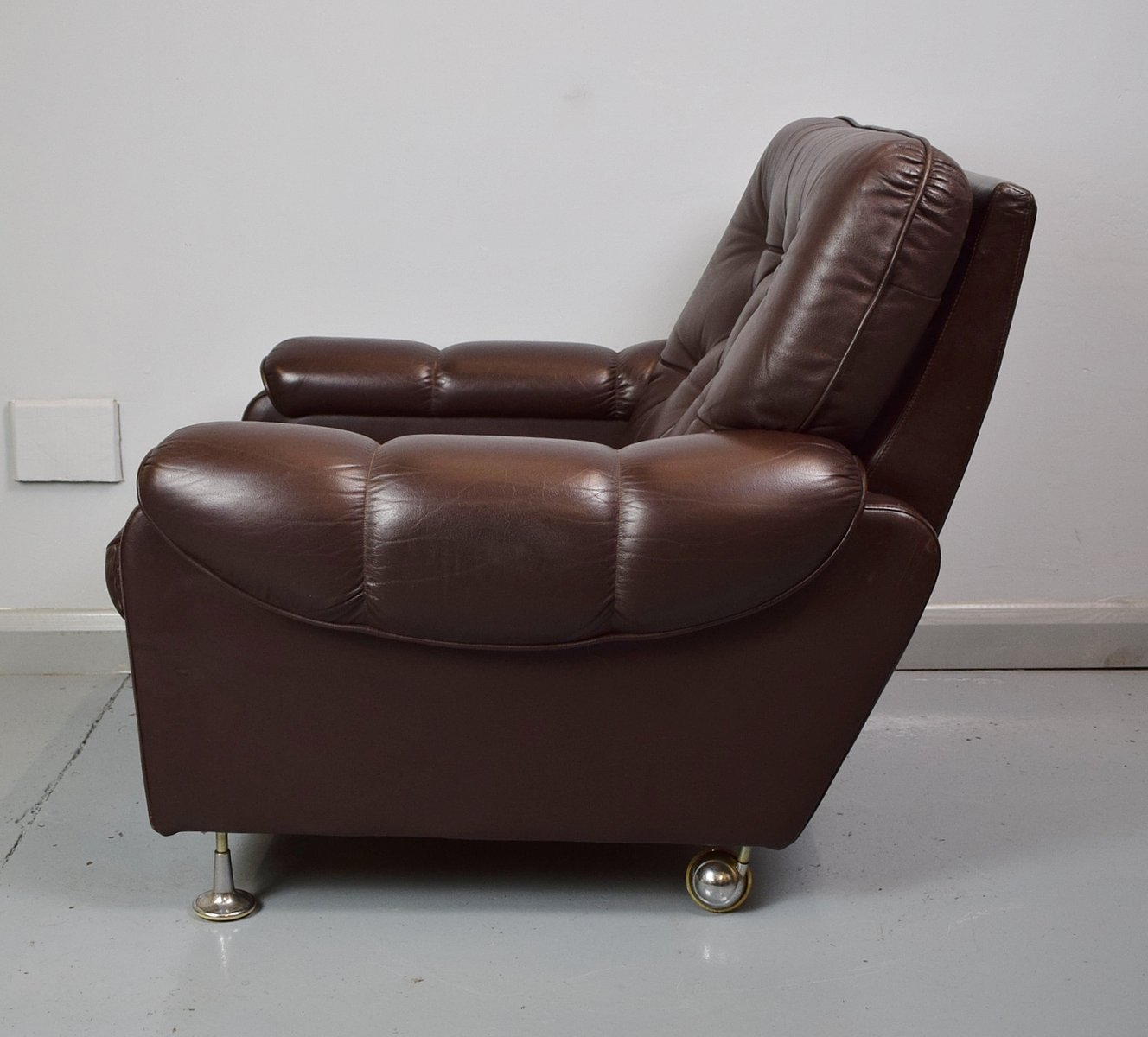 dark brown leather chair cream office faux vintage club 1970s for sale at