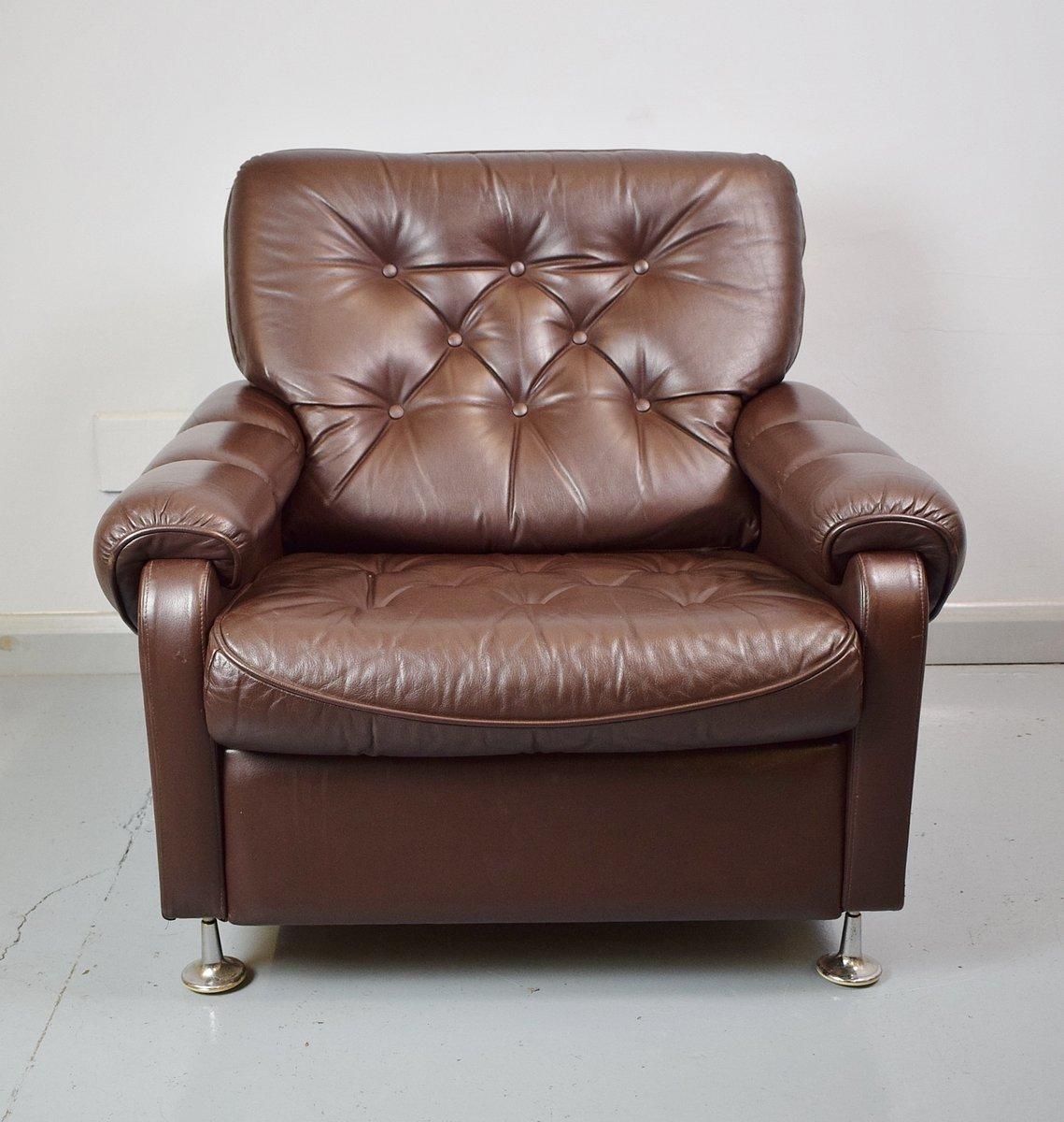 dark brown leather chair futon walmart vintage club 1970s for sale at