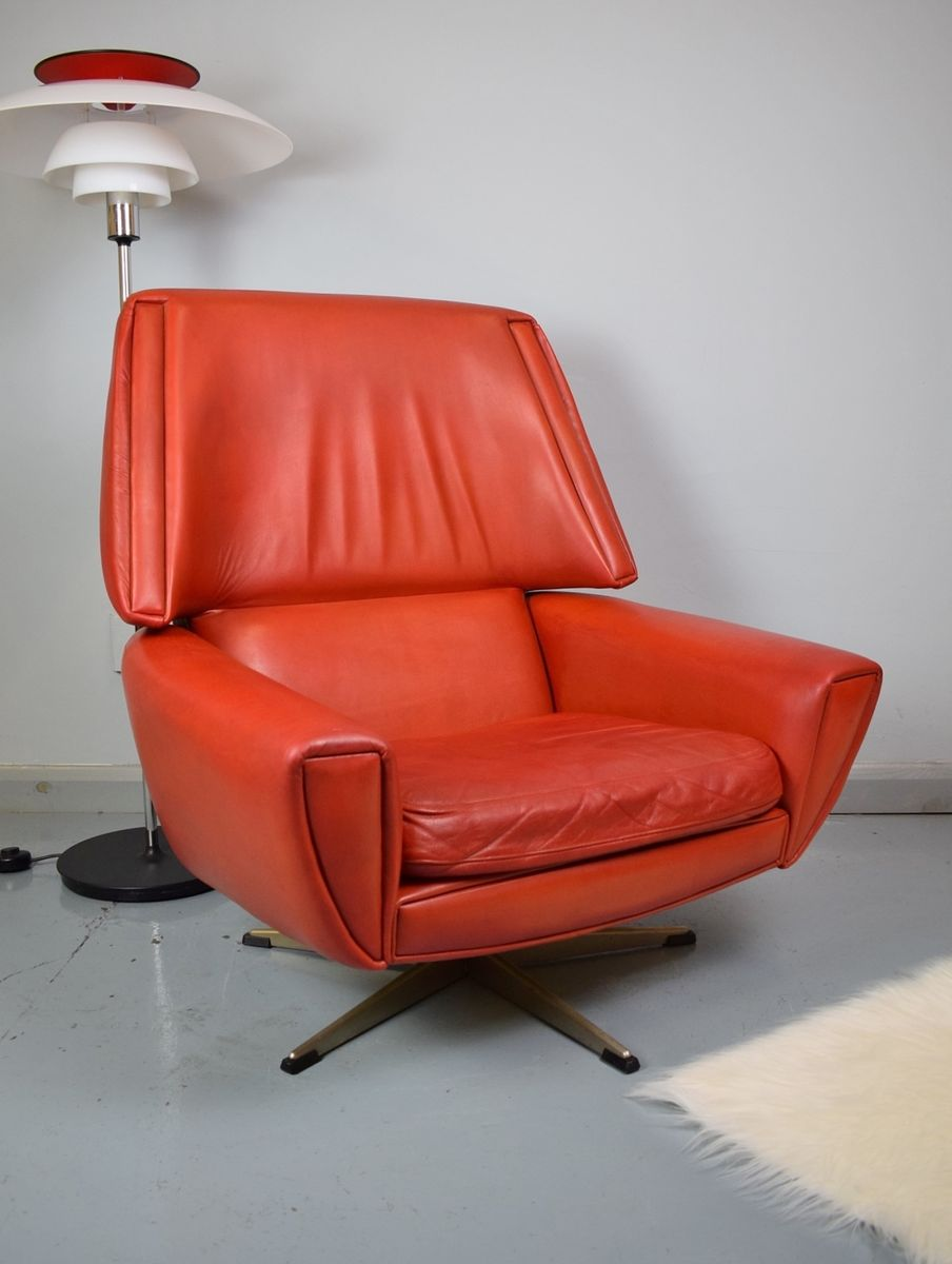 Red Leather Swivel Chair Vintage Danish Red Leather Swivel Lounge Chair