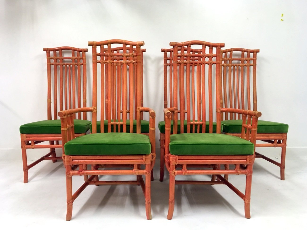 green dining chairs uk modern office without wheels vintage red bamboo and velvet from