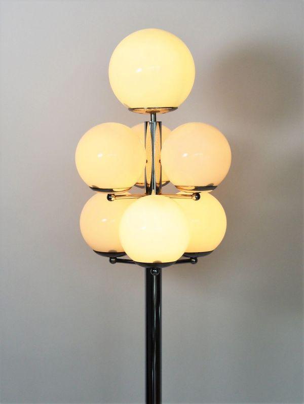 18f312e9ca8d Italian Chrome And Glass Globe Floor Lamp 1970s