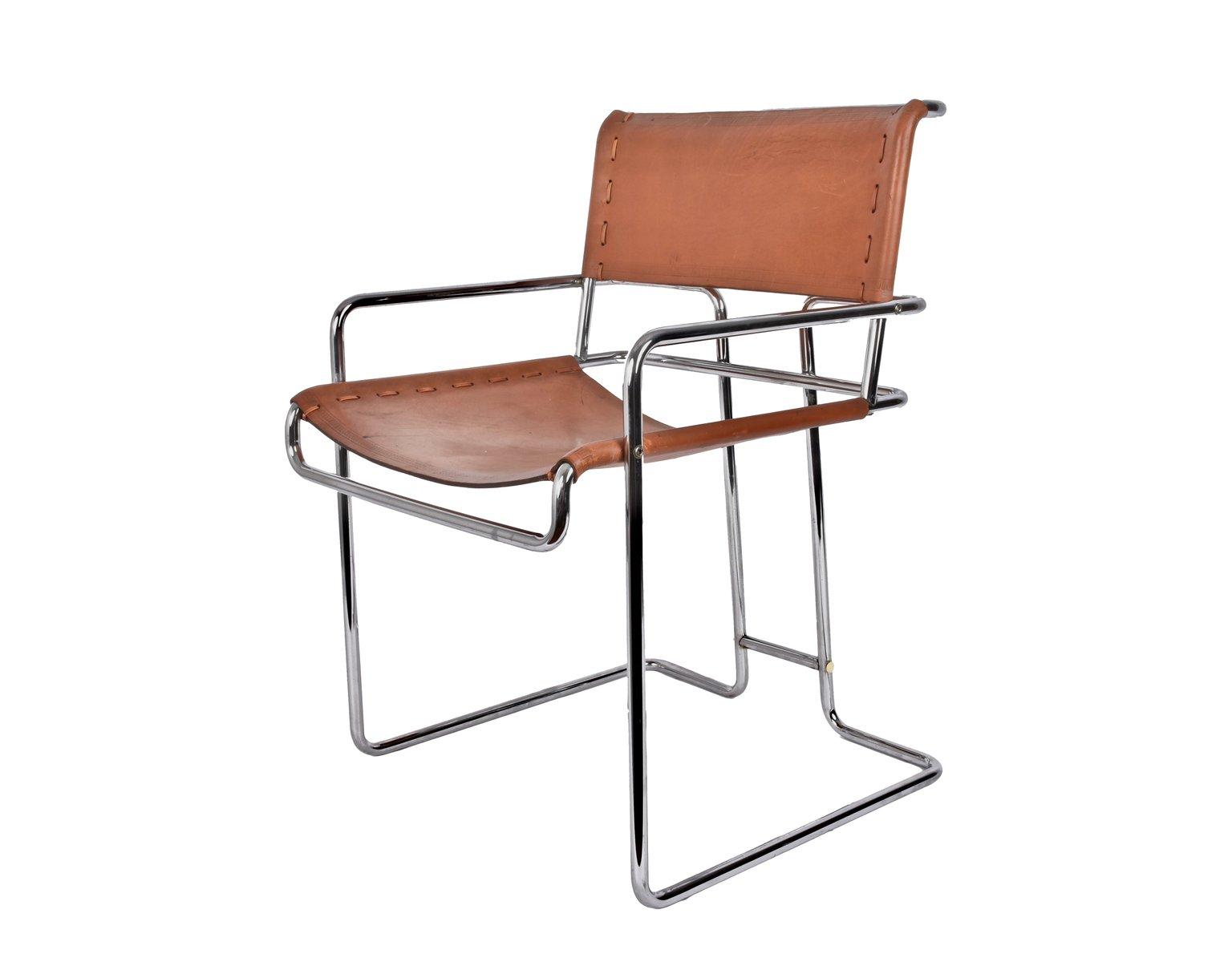 Italienischer Stuhl aus verchromtem Stahl & Leder von ...