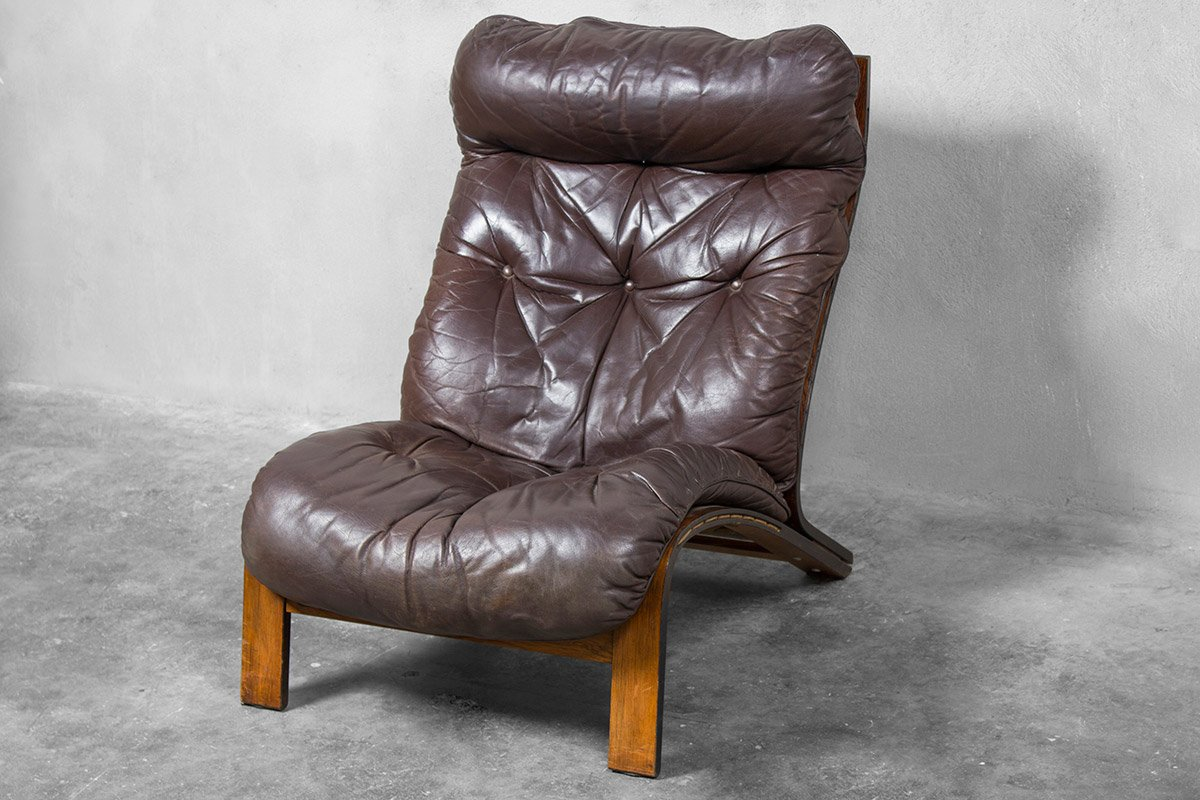 large lounge chair swing lounger by oddvin rykken for ribo 1970s