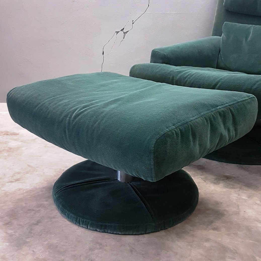 green velvet swivel chair modern black leather desk with ottoman from rolf benz