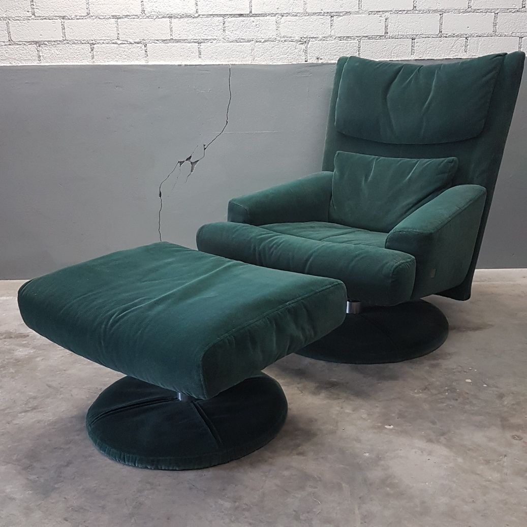green velvet swivel chair office chairs white leather with ottoman from rolf benz