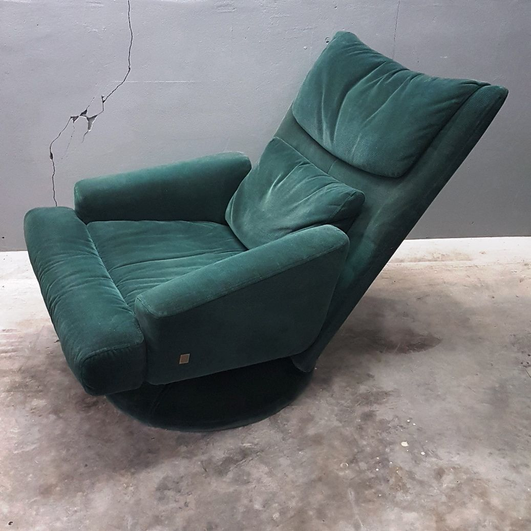 green velvet swivel chair rocking leather and wood with ottoman from rolf benz