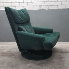 Green Velvet Swivel Chair One And A Half Sleeper With Ottoman From Rolf Benz