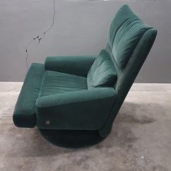 Green Velvet Swivel Chair Church Chairs For Sale Used With Ottoman From Rolf Benz