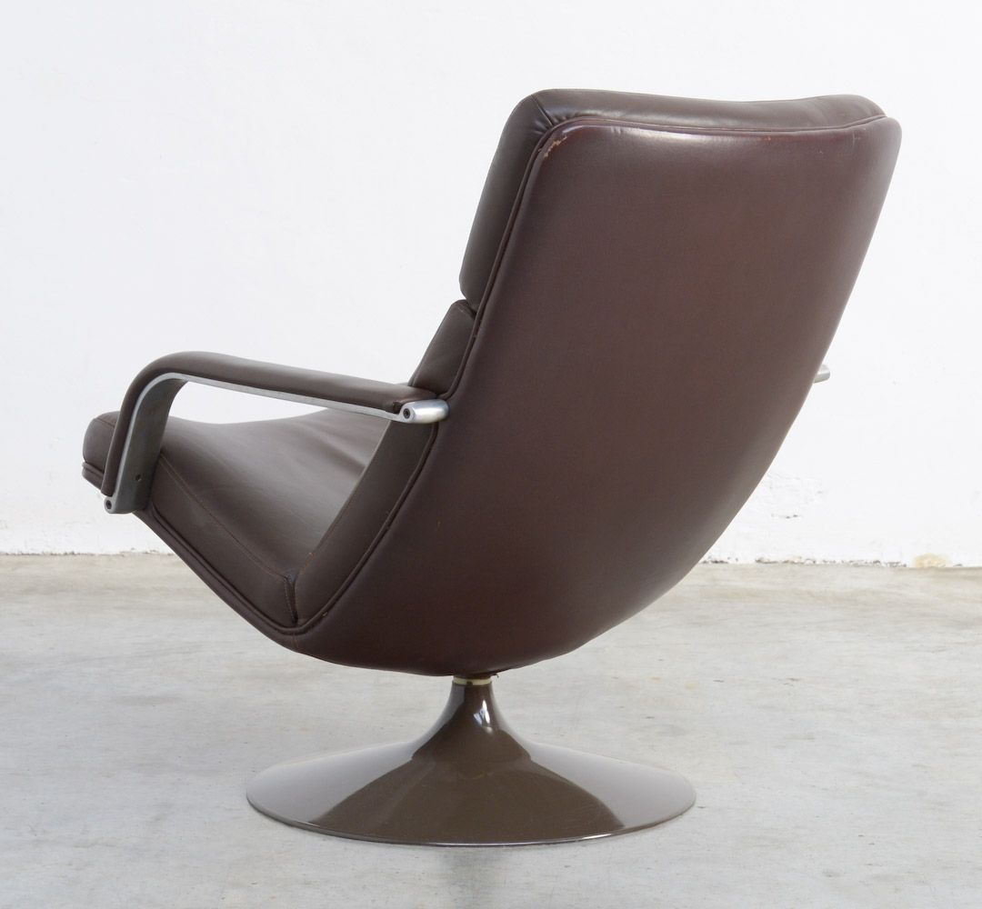brown swivel chair covers for chairs without arms model f142 leather by geoffrey harcourt