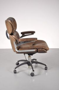 Brown Leather Desk Chair, 1960s for sale at Pamono