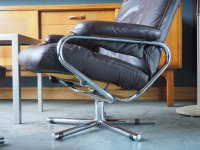 Mid-Century Brown Leather Swivel/Reclining Chair ...