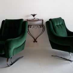 Emerald Green Velvet Chair Rocking Legs French Cantilever Lounge Chairs