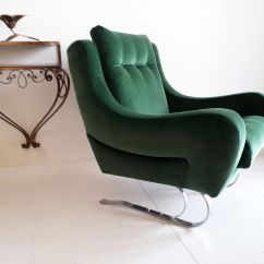 Emerald Green Velvet Chair Wood Floor Protector French Cantilever Lounge Chairs