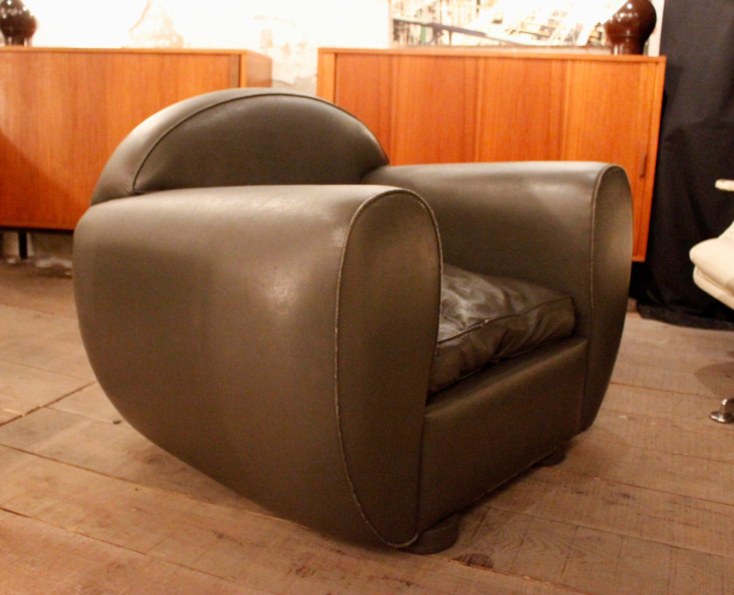Grey Leather Club Chair Grey Leather Lounge Chair For Sale At Pamono