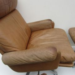 Leather Lounge Chair With Ottoman Desk Arm Pads Mid Century Swivel For