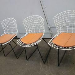 Bertoia Style Chair White Travel Trailer Swivel Chairs And Black Wire By Harry For Knoll Set
