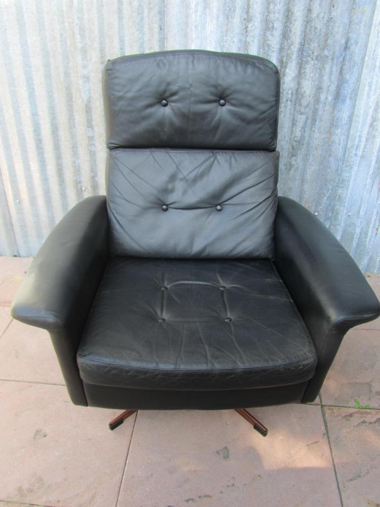black leather sofa quick delivery small recliner lounge swivel chair from goldsiegel, 1960s ...
