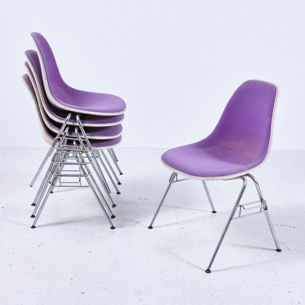 American DSS-N Upholstered Fibreglass Stacking Chair by Charles & Ray Eames for Herman Miller ...