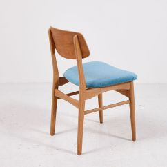 Chair With Light Foldable Lounge Vintage Teak Dining Chairs Blue Upholstery Set
