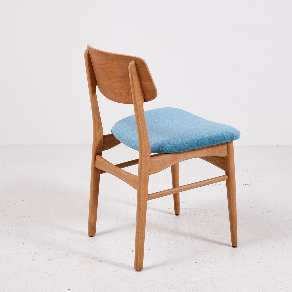 Light Blue Dining Chairs Vintage Teak Dining Chairs With Light Blue Upholstery Set