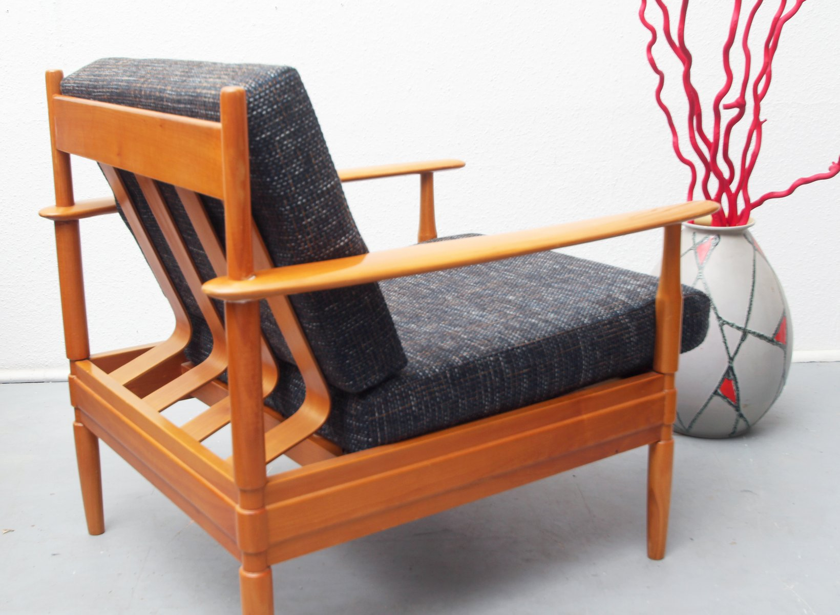 wooden lounge chair plans wheelchair dance german cherry wood 1960s for sale at pamono