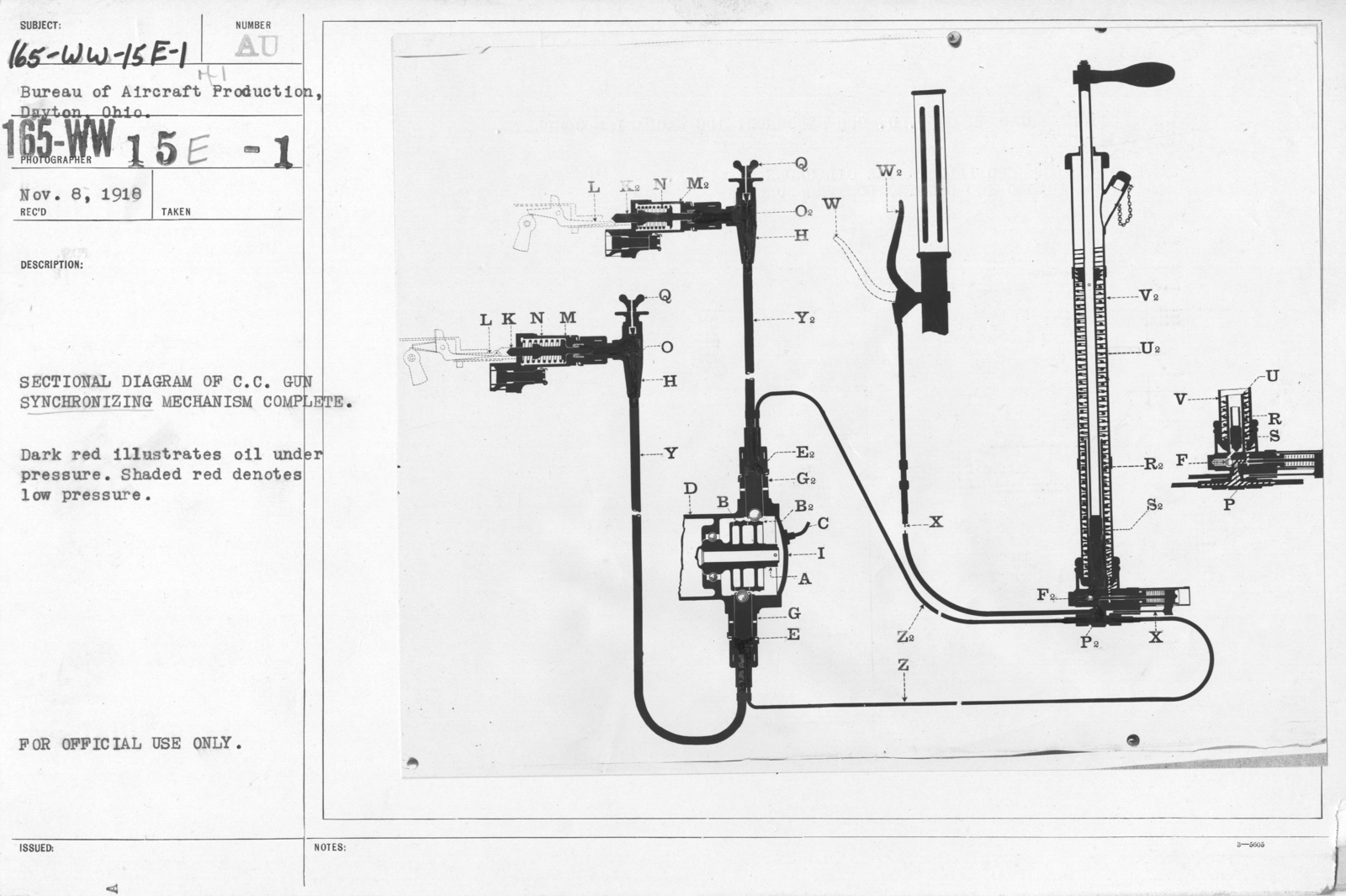 hight resolution of airplanes ordnance sectional diagram of c c gun synchronizing mechanism complete dark red illustrates