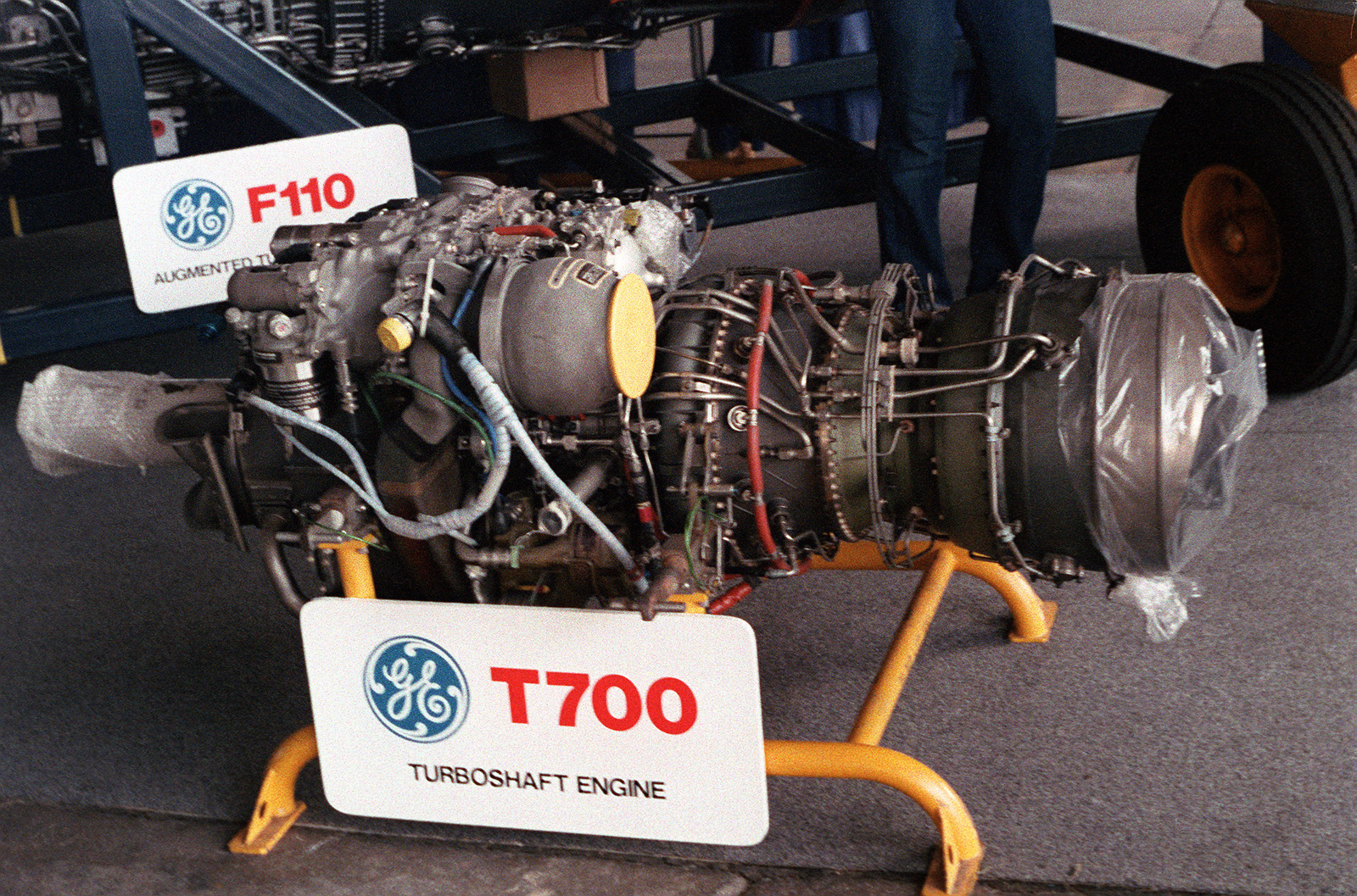 hight resolution of a view of the general electric t700 turboshaft engine on display during the patuxent river air