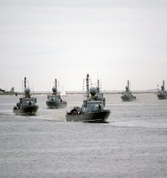 seven west german type 143 missile boats pass in review during a port visit by the [ 1600 x 1067 Pixel ]