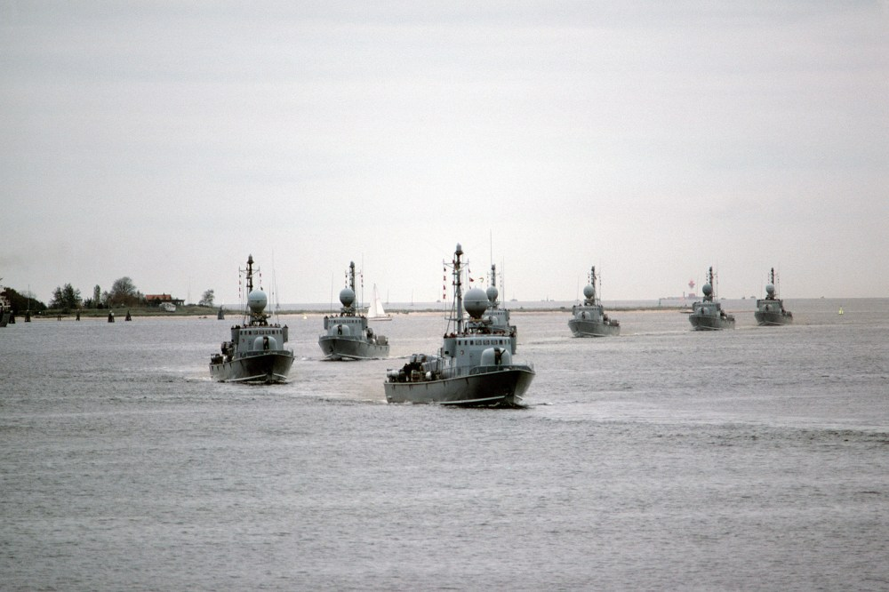 medium resolution of seven west german type 143 missile boats pass in review during a port visit by the