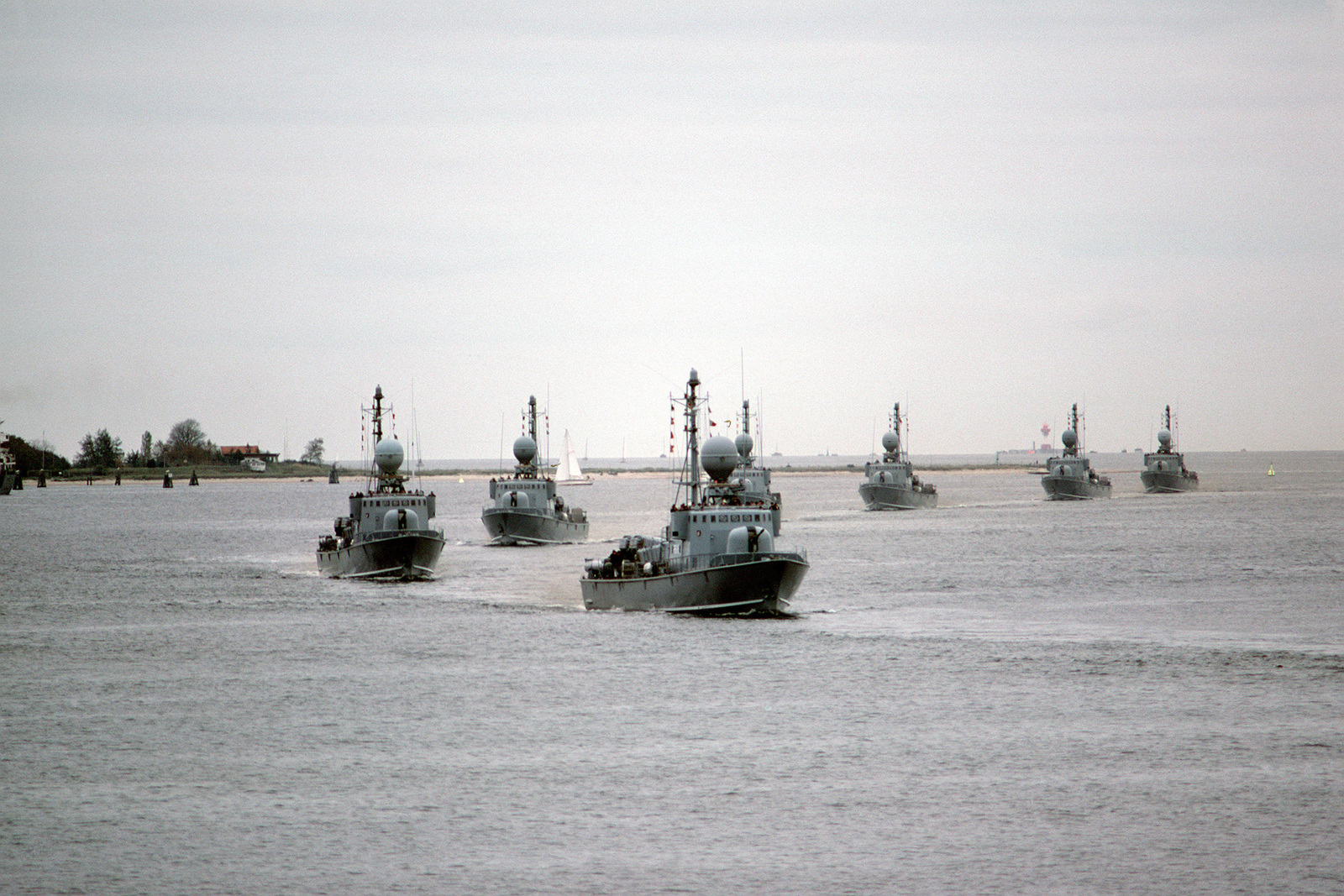 hight resolution of seven west german type 143 missile boats pass in review during a port visit by the