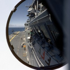 Captains Chair Exercise 2 Glider Kijiji A View From The Captain S On Bridge Of Amphibious Assault Ship Uss Essex Lhd Showing Flight Deck Image In Rear Mirror During