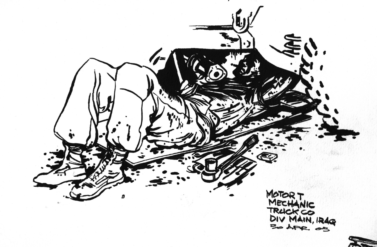 Ink Sketch Of A Us Marine Corps Usmc Motor Mechanic