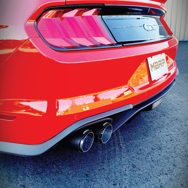 3 cat back dual quad split rear exit active exhaust t304 with carbon fiber tips ford mustang gt 5 0l 2018 2021