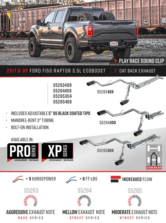 3 cat back dual rear exit race version t409 ford f 150 raptor 3 5l ecoboost 2017 2020