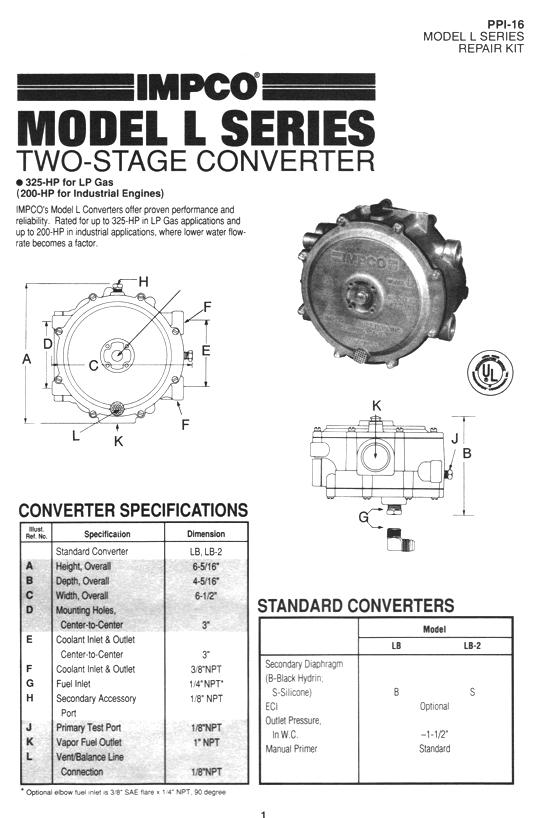 IMPCO Model L Series Two Stage Propane Converter Repair