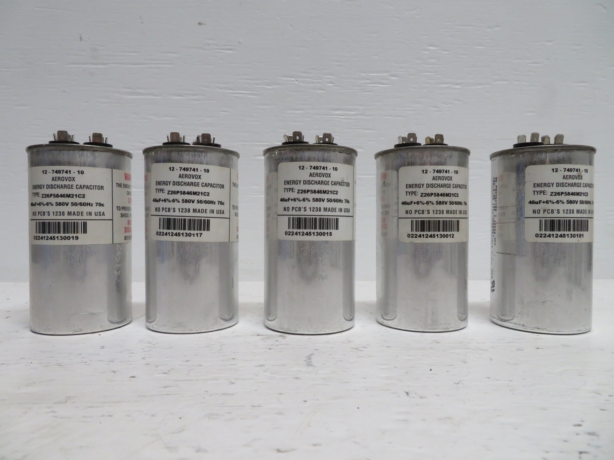 small resolution of lot of 5 aerovox 12 749741 10 capacitor z26p5846m21c2 46 uf 6 580 vac np2295 3 river city industrial