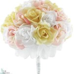 Pink Yellow And White Silk Rose Hand Tied Bridal Bouquet 3 Dozen Roses