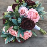 Burgundy Dusty Pink Silk Bridal Bouquets With Eucalyptus Greenery Large Rose Eucalyptus Thebridesbouquet Com