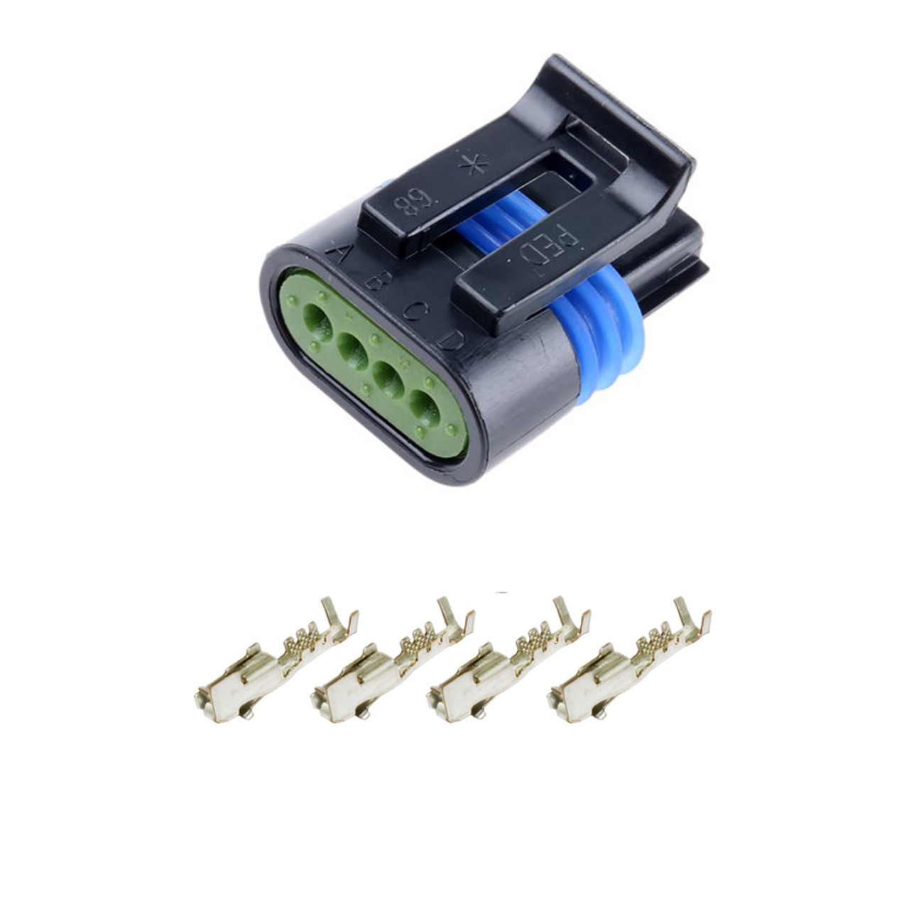 delphi metri pack 150 2 series sealed 4 pin female connector kit obd innovations [ 1280 x 1280 Pixel ]
