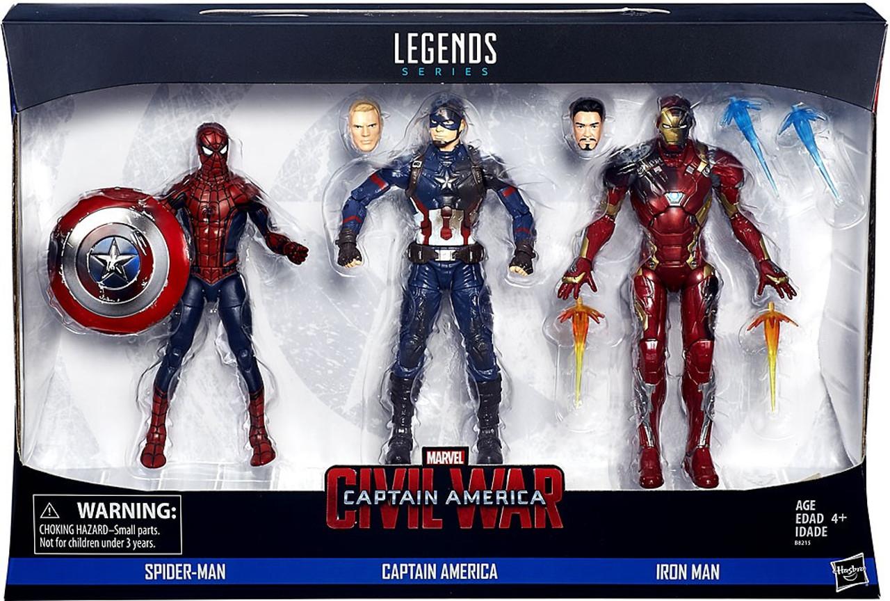 captain america civil war marvel legends spider-man, captain america & iron  man action figure 3-pack