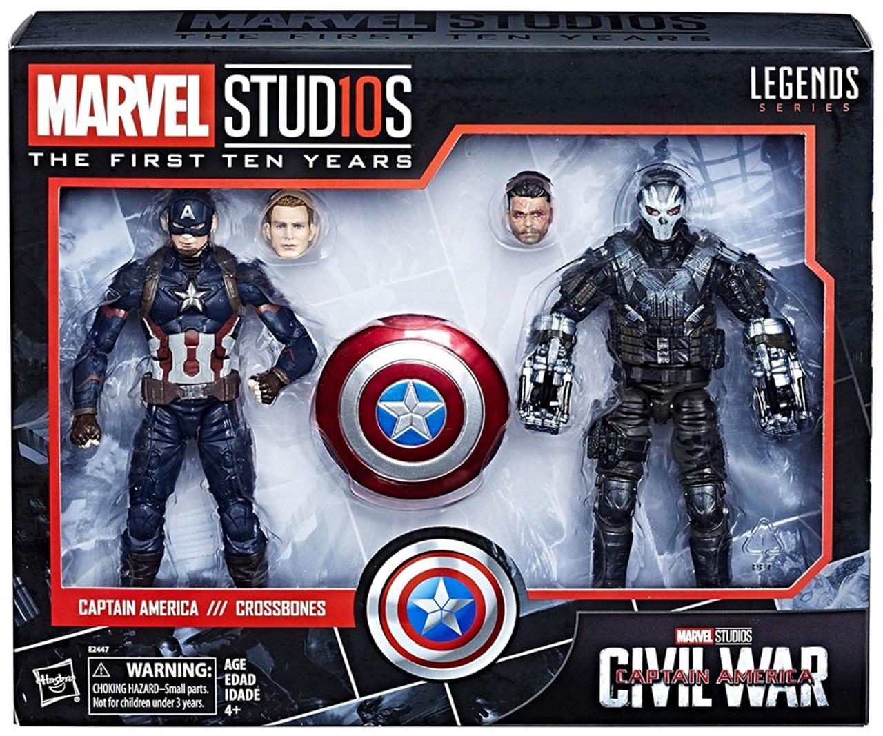 avengers: civil war marvel studios: the first ten years marvel legends  captain america & crossbones action figure 2-pack
