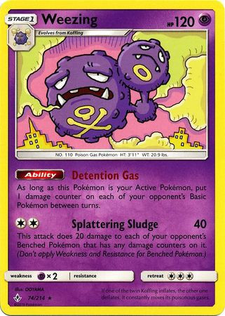 Pokemon Sun Moon Unbroken Bonds Single Card Rare Weezing