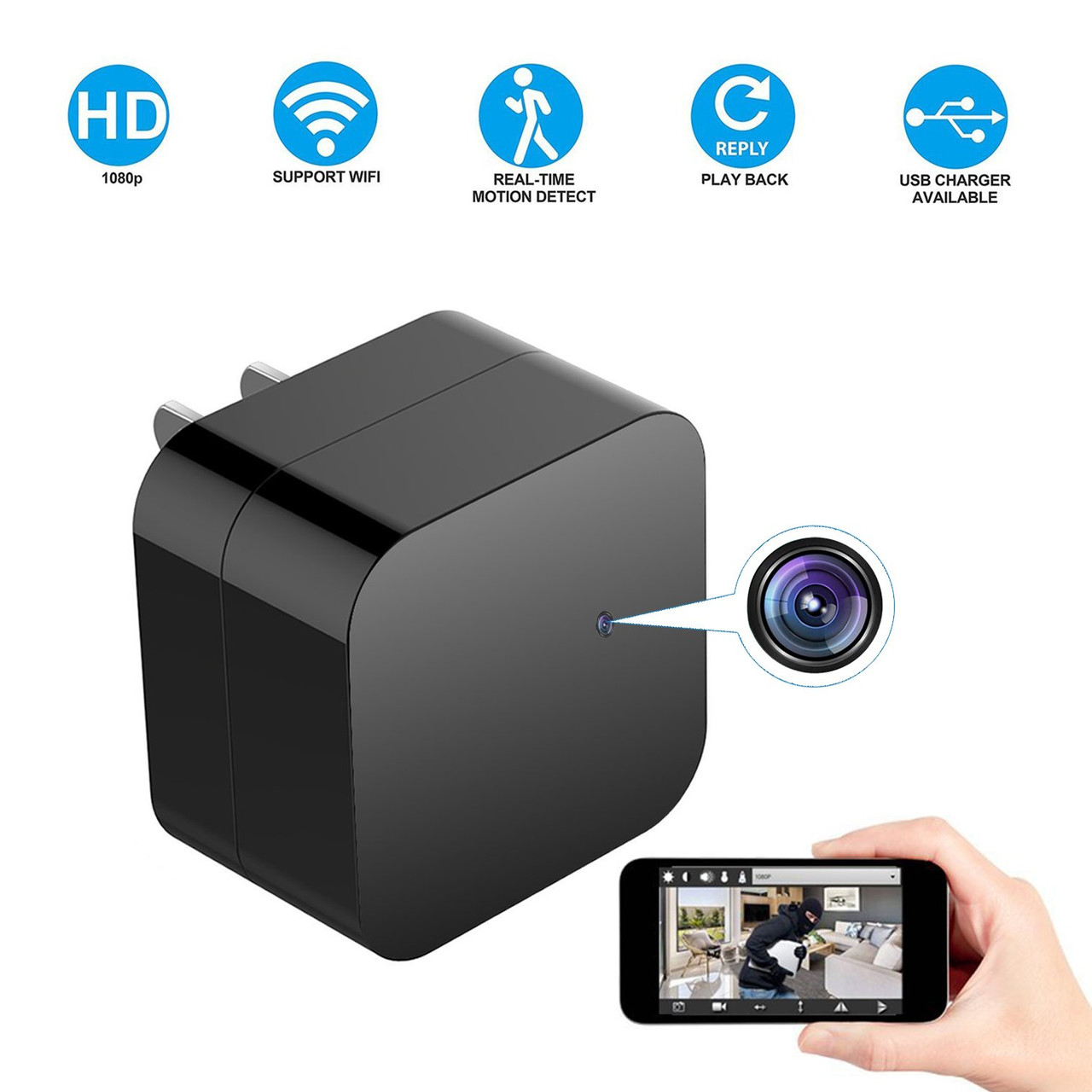 small resolution of night vision hidden spy camera wall charger wifi camera hd 1080p remote view nanny cam usb charger camera with motion detection loop recording for home