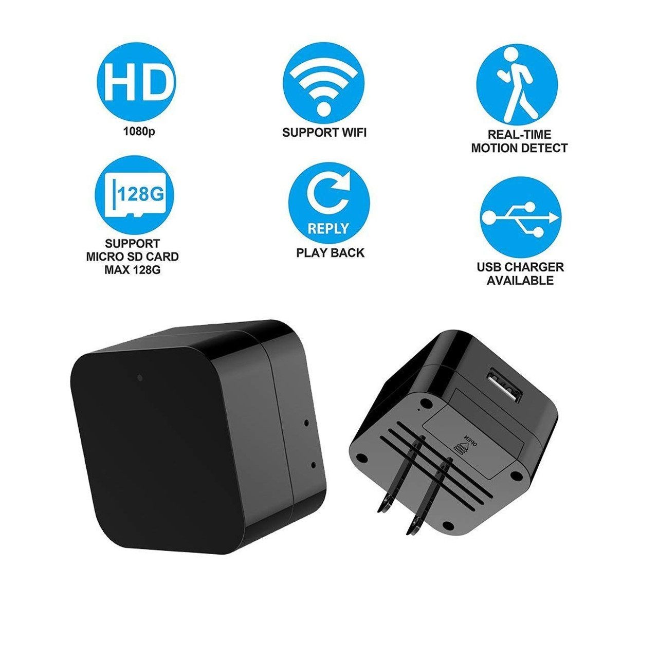 small resolution of  night vision hidden spy camera wall charger wifi camera hd 1080p remote view nanny