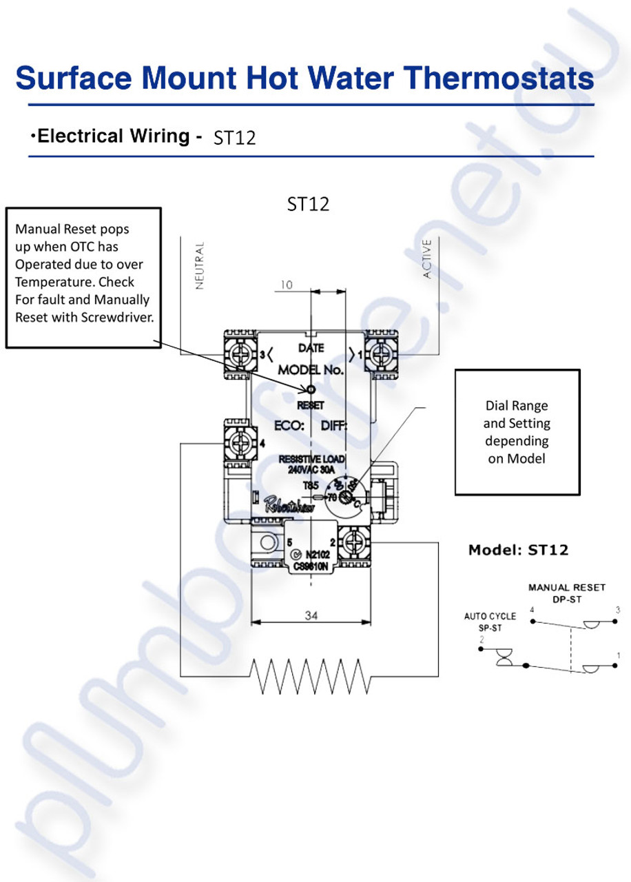 small resolution of  electric hot water heater thermostat robertshaw st12 70k single adjustable 50 70 degrees