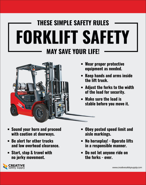 simple safety rules forklift safety poster