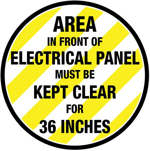electrical panel hazards marine stereo wiring diagram floor marking for compliance signs stating that the area in front of panels must be kept clear are an effective method complying with osha standard