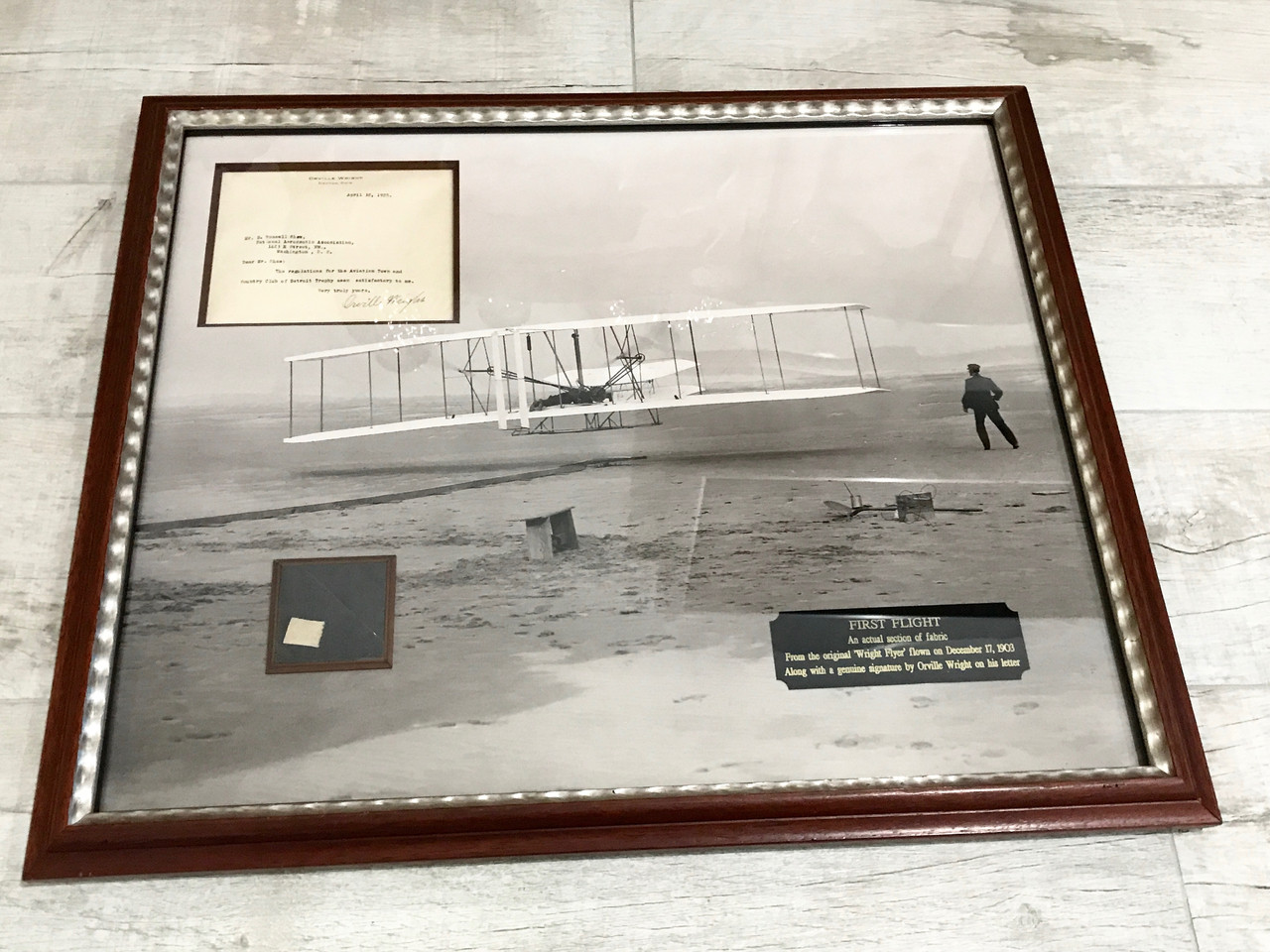 Liquidation World Flyer Wright Brothers Flyer Swatch Signed Letter Framed Complete Documentation