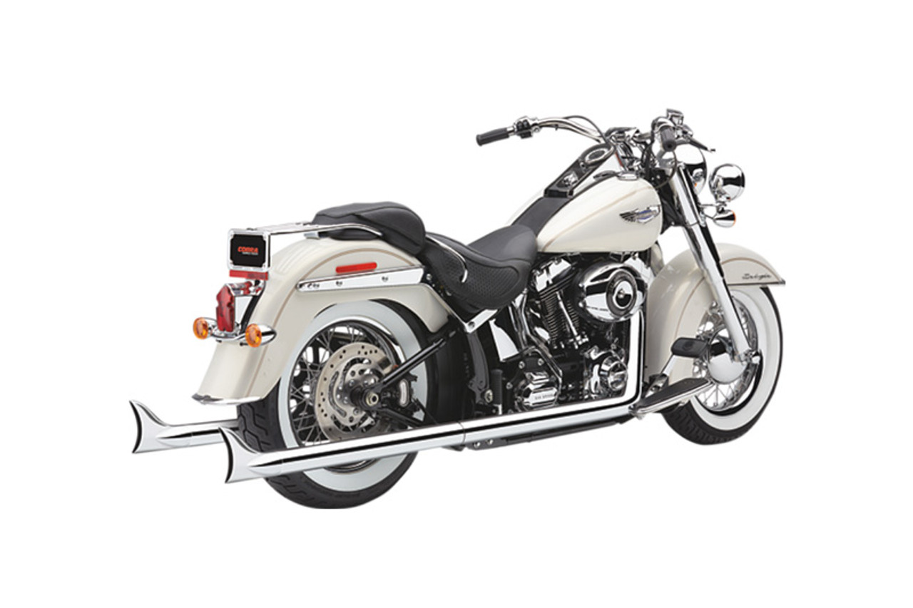 cobra bad hombre dual exhaust system with fishtail tips for 12 17 softail flst fxst models chrome