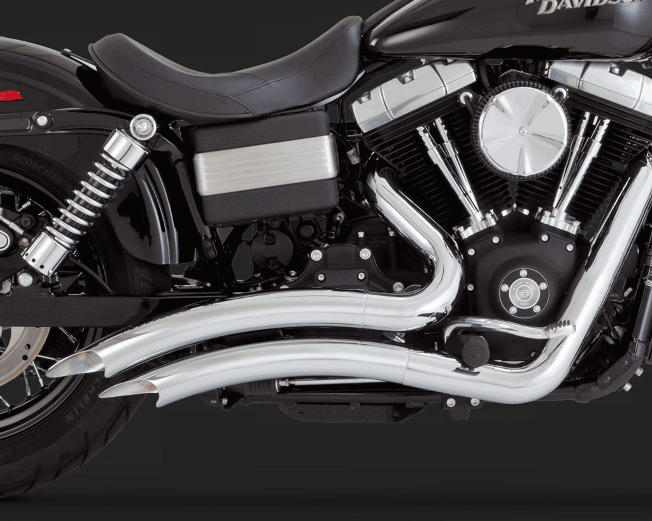 vance hines big radius 2 into 2 exhaust system for harley davidson dyna models 06 17 chrome